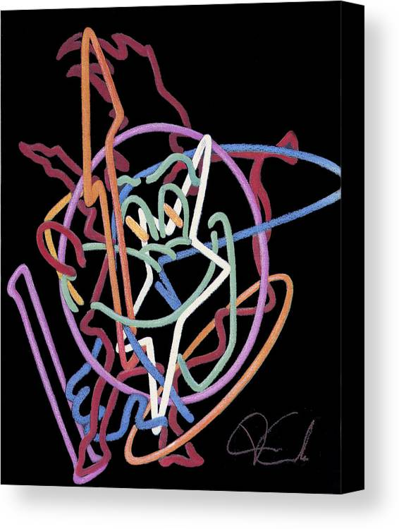 Cityscape Canvas Print featuring the painting Neon Abstract by Van Cordle