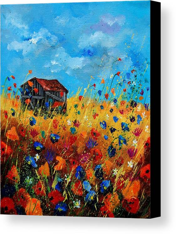 Poppies Canvas Print featuring the painting Old Barn by Pol Ledent