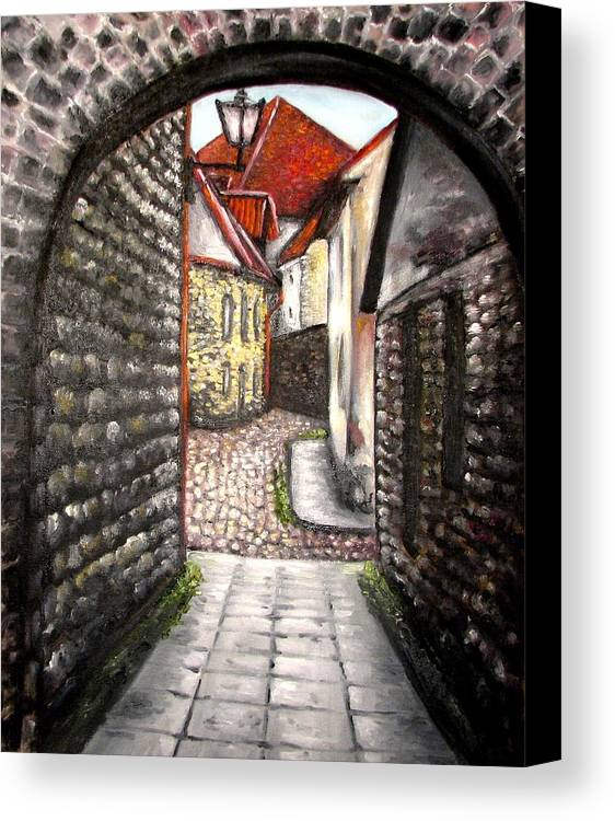 Town Canvas Print featuring the painting Old Town Oil Paining by Natalja Picugina