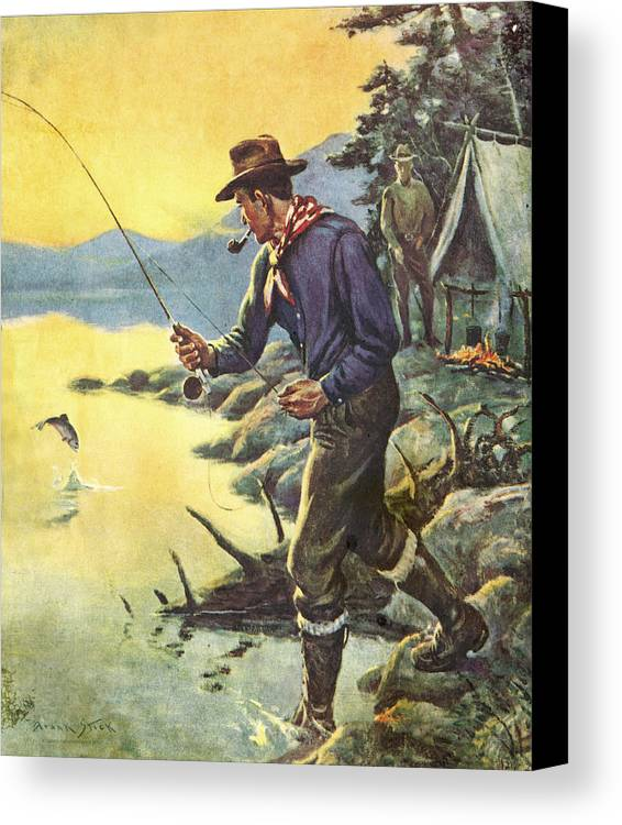 Frank Stick Canvas Print featuring the painting One For Breakfast by JQ Licensing