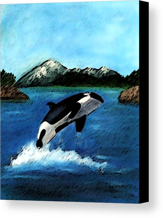 Orca Canvas Print featuring the digital art Playful Orca by Mary Gaines