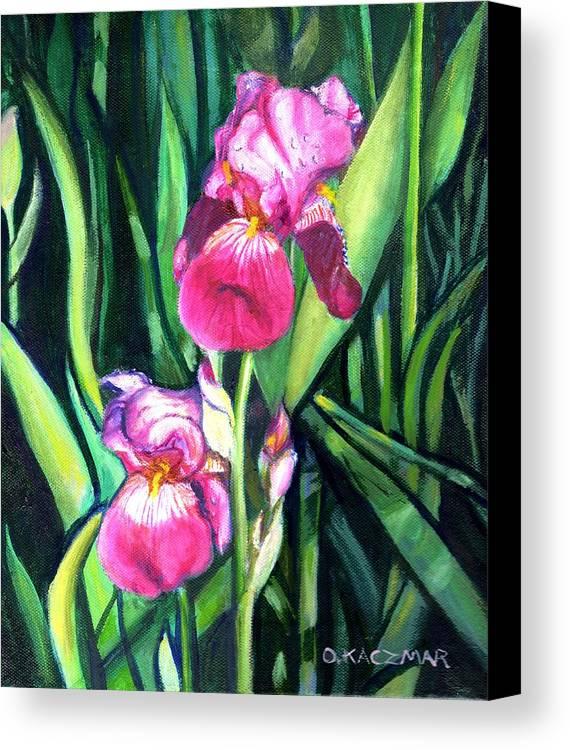 Flowers Canvas Print featuring the painting Purple Iris by Olga Kaczmar