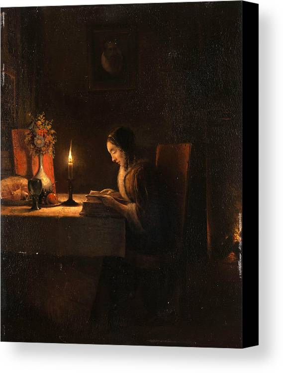 Attributed To Petrus Van Schendel Canvas Print featuring the painting Reading By Candlelight by Attributed to Petrus van Schendel
