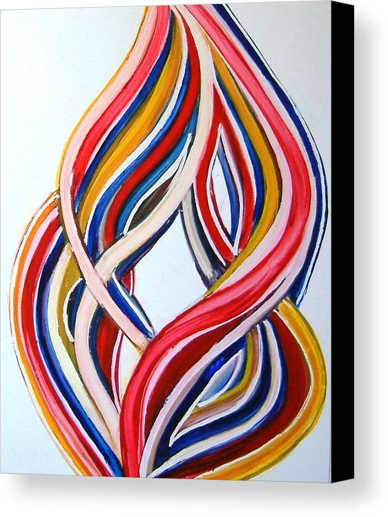 Abstract Modern Contemporary Pop Romantic Love Colourful Red Yellow Blue White Canvas Print featuring the painting Ribbons Of Love-multicolour by Manjiri Kanvinde