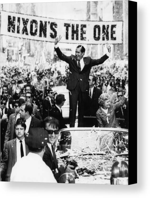 1960s Canvas Print featuring the photograph Richard Nixon. Us Presidential by Everett