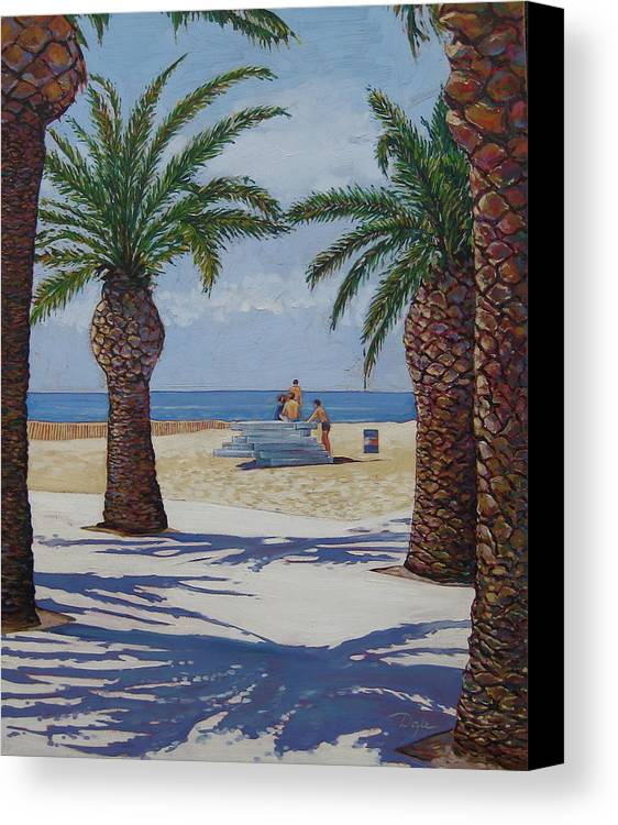 Beach Canvas Print featuring the painting Santa Monica Beach by Karen Doyle