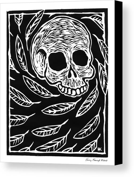 Krauzyk Canvas Print featuring the print Skull And Feathers by Henry Krauzyk