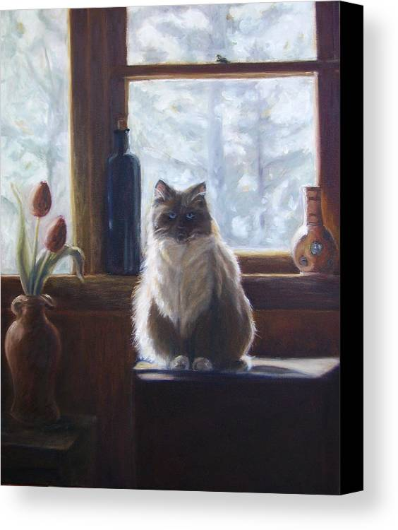 Pets Canvas Print featuring the painting Soaking Up The Sun by Tahirih Goffic