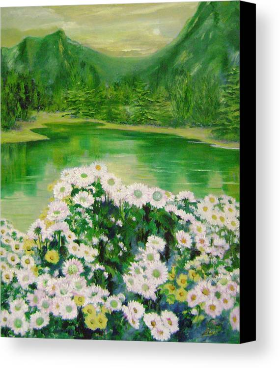 Floral Canvas Print featuring the painting Stars By The River Side by Lian Zhen