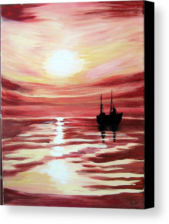Seascape Canvas Print featuring the painting Still Waters Run Deep by Marco Morales