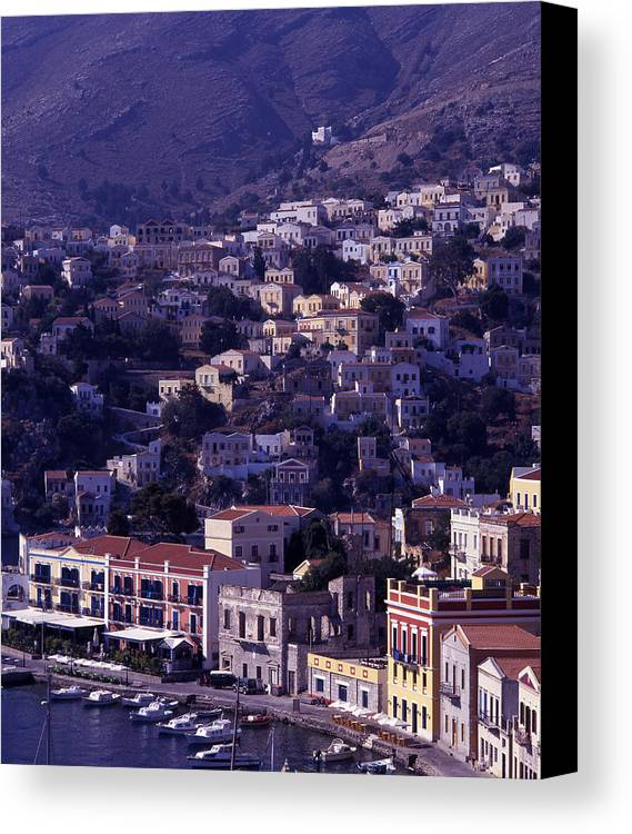 Europe; Greece; Greek Islands; Mediterranean; Dodecanese; Symi; Town; Simi; Yialos; Landscape Canvas Print featuring the photograph Symi by Steve Outram
