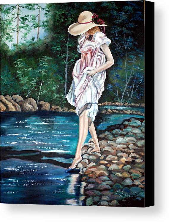 Vintage Canvas Print featuring the painting Testing The Water by Margaret Fortunato