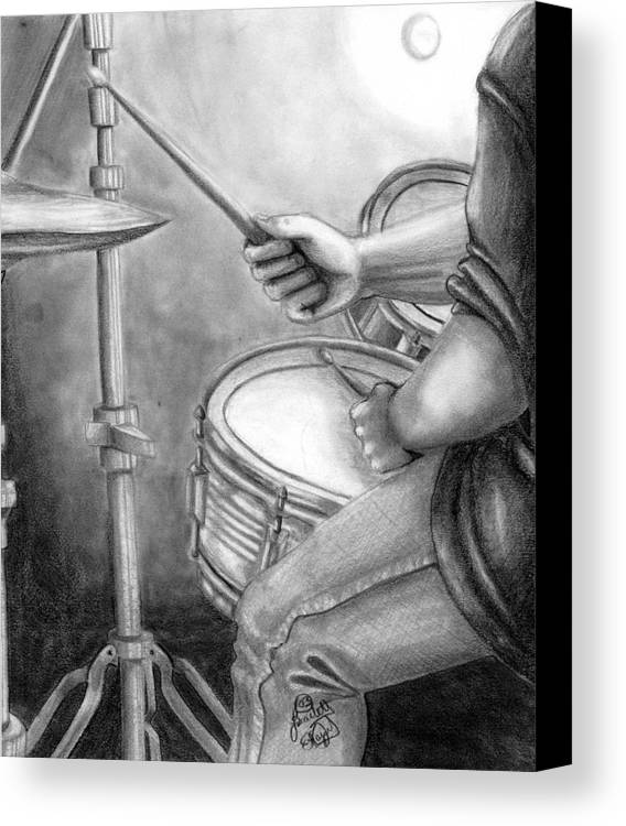 Drummer Canvas Print featuring the drawing The Drummer by Scarlett Royal