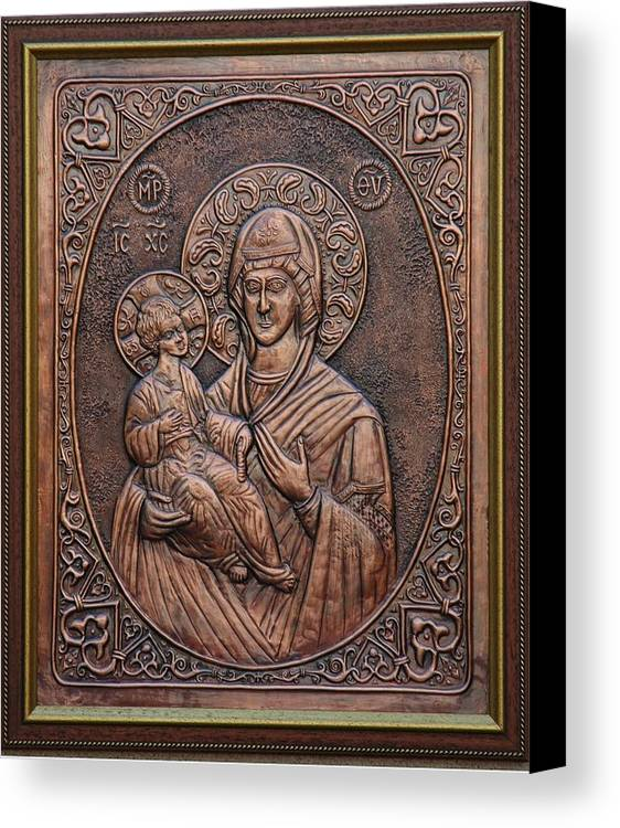 Icons Canvas Print featuring the relief The Holly Mother With Jesus Christ by Netka Dimoska