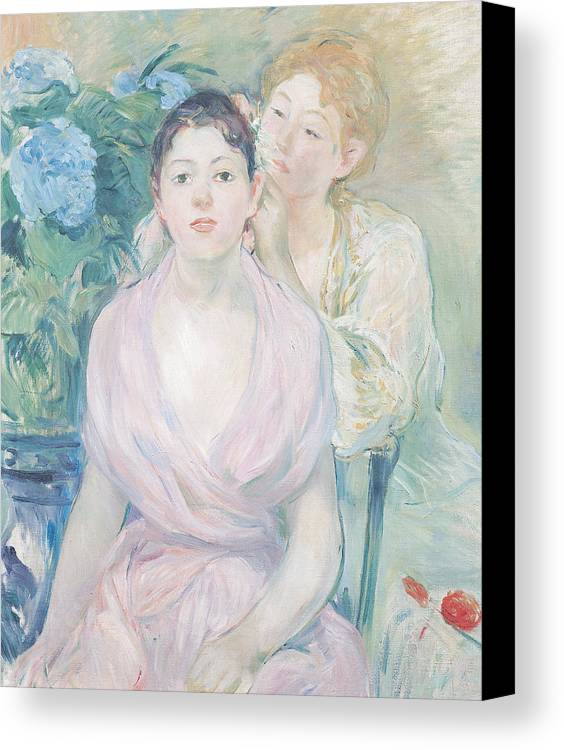 The Canvas Print featuring the painting The Hortensia by Berthe Morisot