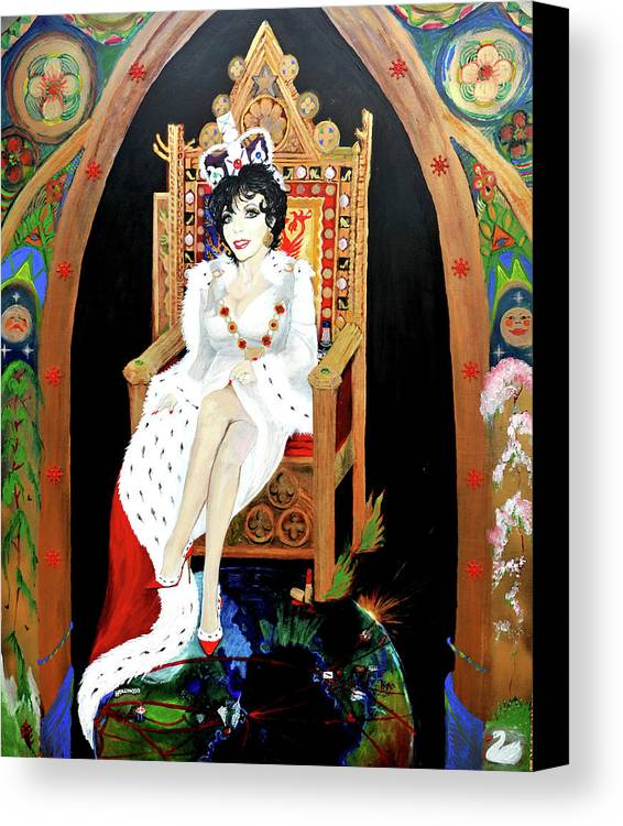 Joan Canvas Print featuring the painting The Majestic Joan Collins D B E by Michelle Deyna-Hayward