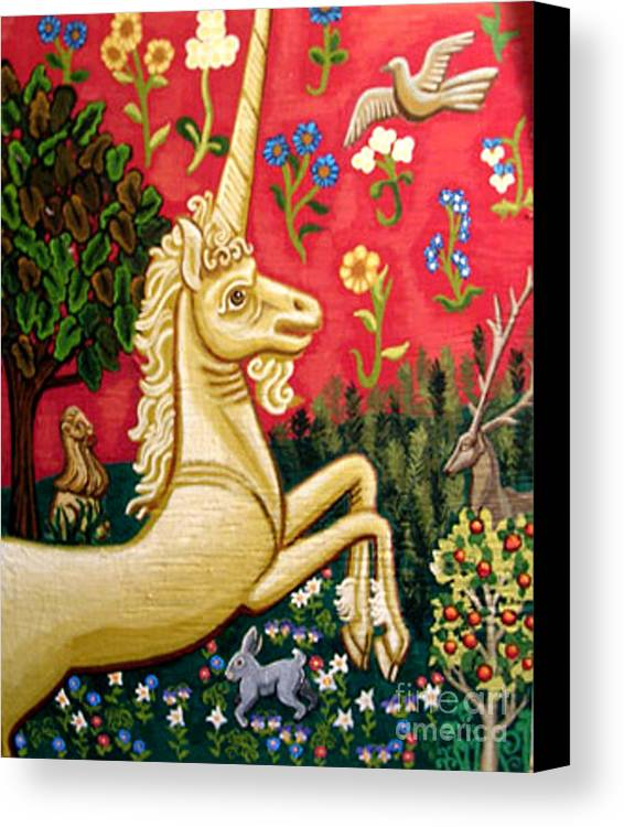 Unicorn Canvas Print featuring the painting The Unicorn by Genevieve Esson