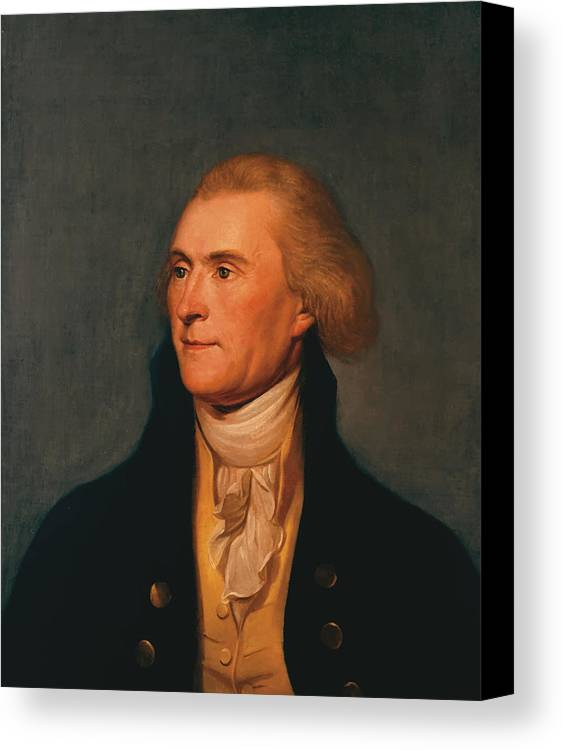 Thomas Jefferson Canvas Print featuring the painting Thomas Jefferson by War Is Hell Store