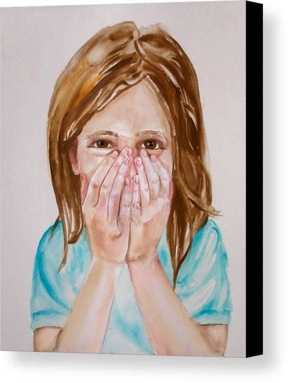 Little Girls Canvas Print featuring the painting Tickled Pink by Anne Cameron Cutri