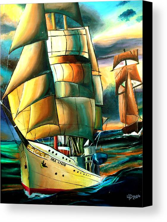 Ship Canvas Print featuring the drawing Timeless by Darcie Duranceau