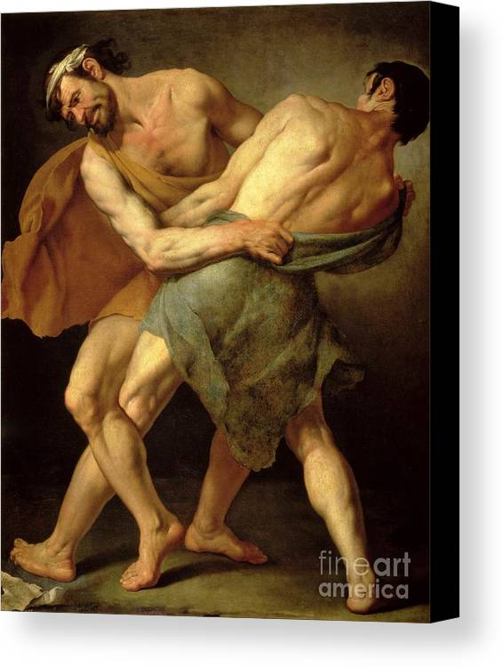 Nude Canvas Print featuring the painting Two Wrestlers by Cesare Francazano