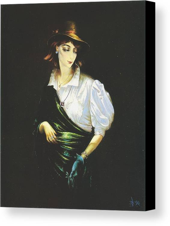 Figures Canvas Print featuring the painting Unknown Woman by Andrej Vystropov