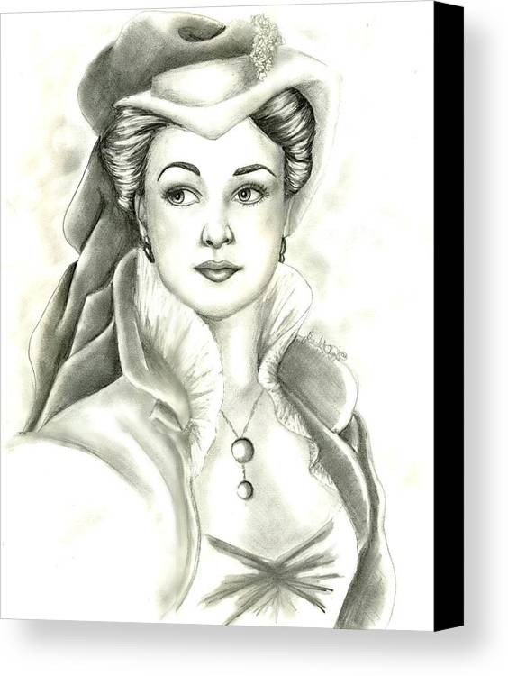 Vivien Lee Canvas Print featuring the drawing Vivien by Scarlett Royal
