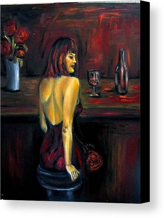 Woman Canvas Print featuring the painting Waiting... Oil Painting  by Natalja Picugina