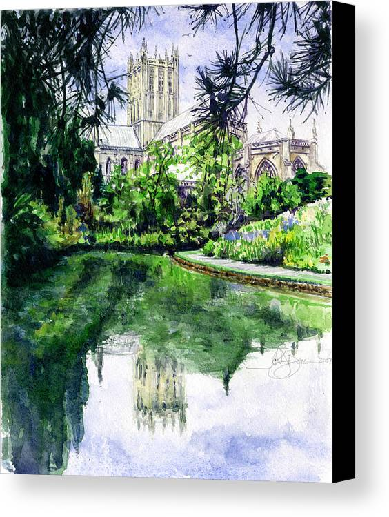 Wells Canvas Print featuring the painting Wells Cathedral by John D Benson