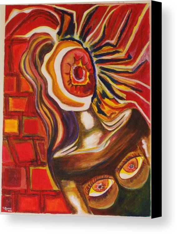 Abstract Art Canvas Print featuring the mixed media Wide Awake by Shonette Bynoe