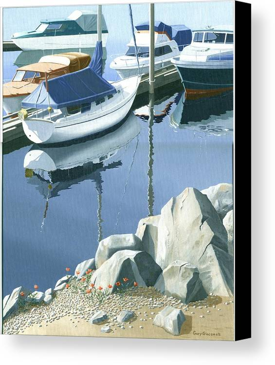 Sailboat Canvas Print featuring the painting Wildflowers On The Breakwater by Gary Giacomelli