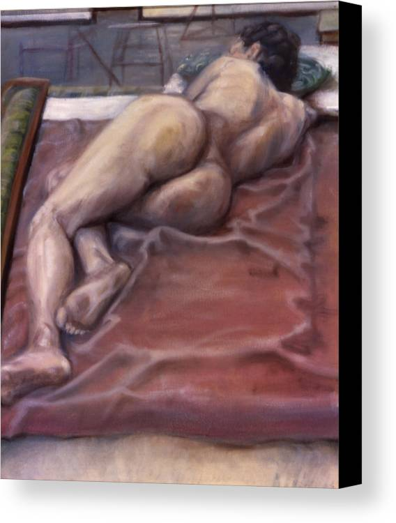 Woman Canvas Print featuring the painting Woman On Blanket by John Clum
