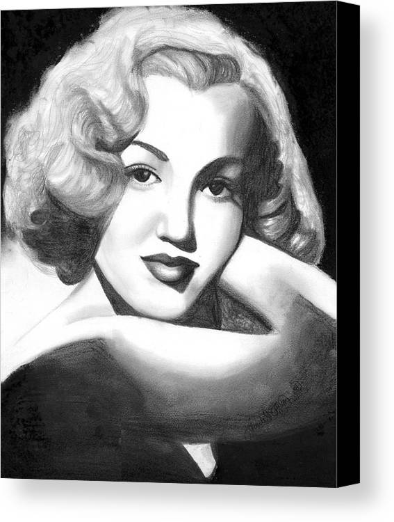 Portrait Canvas Print featuring the drawing Young Marilyn by Scarlett Royal