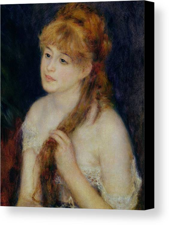 Pierre Auguste Renoir Canvas Print featuring the painting Young Woman Braiding Her Hair by Pierre Auguste Renoir
