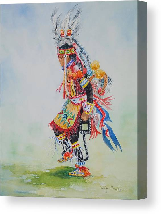 Watercolor Canvas Print featuring the painting The Dancer by Marilyn Clement