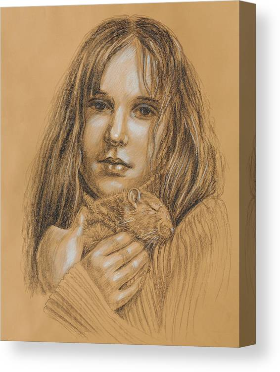 Girl Canvas Print featuring the drawing A Girl With The Pet by Irina Sztukowski