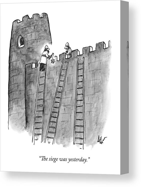 Sieges Canvas Print featuring the drawing A Lone Medieval Soldier Climbs The Ladder by Frank Cotham