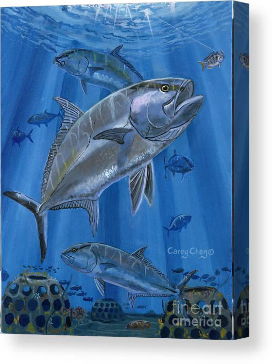 Amberjack Canvas Print featuring the painting Amberjack In0029 by Carey Chen