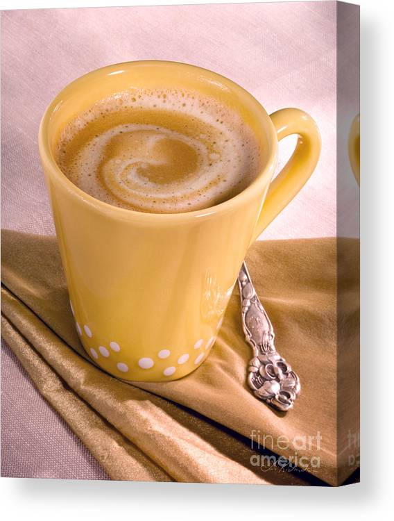 Fresh Black Coffee Canvas Print featuring the photograph Coffee In Yellow Cup by Iris Richardson