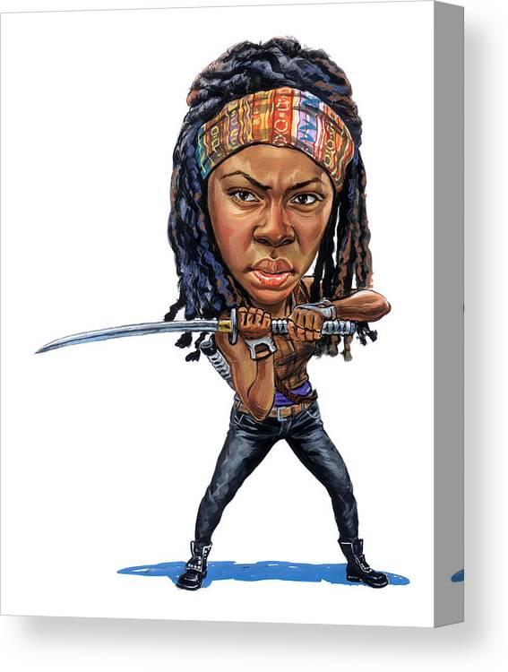 Michonne Canvas Print featuring the painting Danai Gurira As Michonne by Art