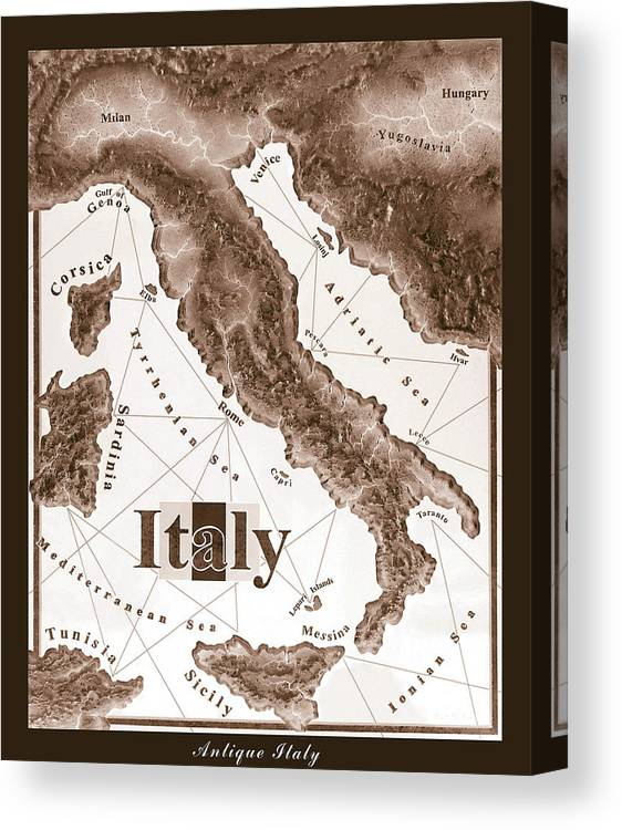 Italian Canvas Print featuring the mixed media Italian Map by Curtiss Shaffer