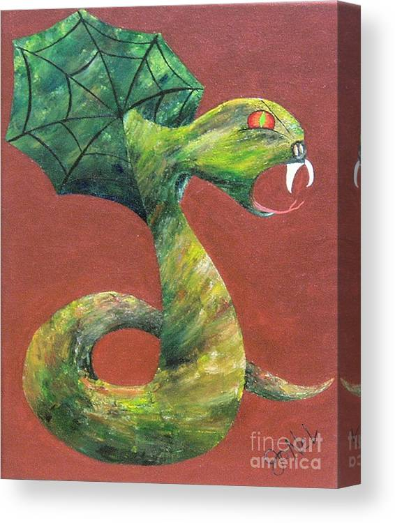 Dark Canvas Print featuring the painting Khiel...the Snake by JoNeL Art