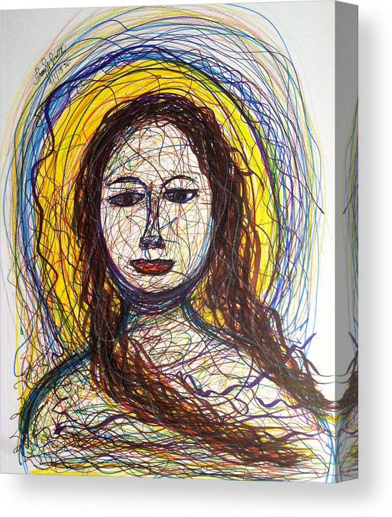 Mary Canvas Print featuring the drawing Mary by Tracy W Smith