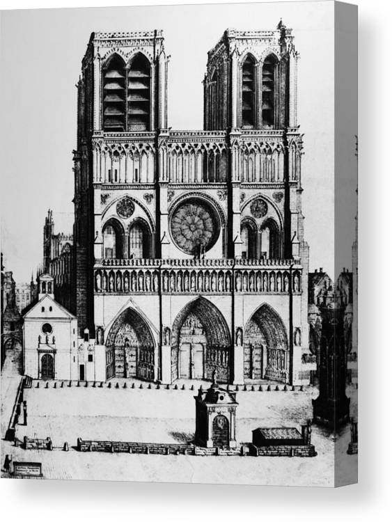 1699 Canvas Print featuring the drawing Paris Notre Dame, 1699 by Granger