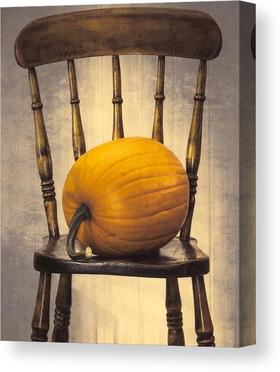 Pumpkins Canvas Print featuring the photograph Pumpkin On Chair by Amanda Elwell