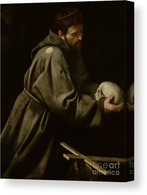 Monk Canvas Print featuring the painting Saint Francis In Meditation by Michelangelo Merisi da Caravaggio