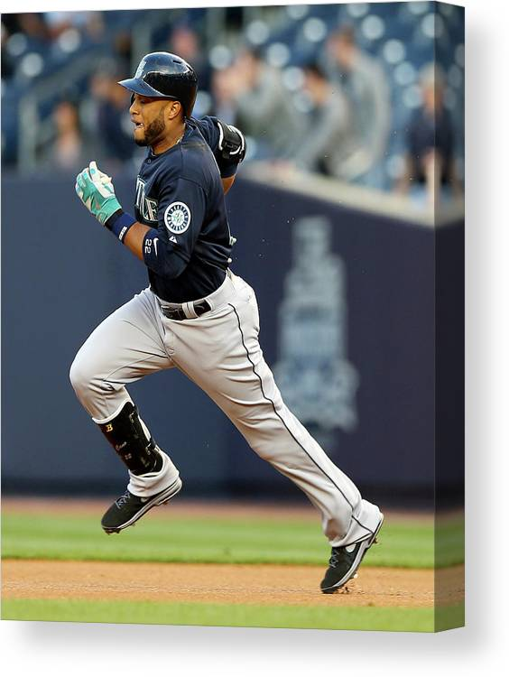 American League Baseball Canvas Print featuring the photograph Seattle Mariners V New York Yankees by Elsa