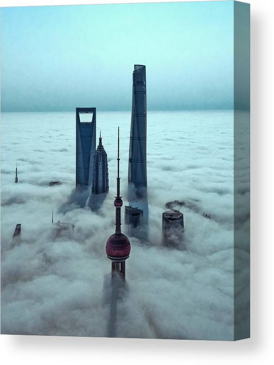 Aerial Canvas Print featuring the photograph Sky City by Stan Huang