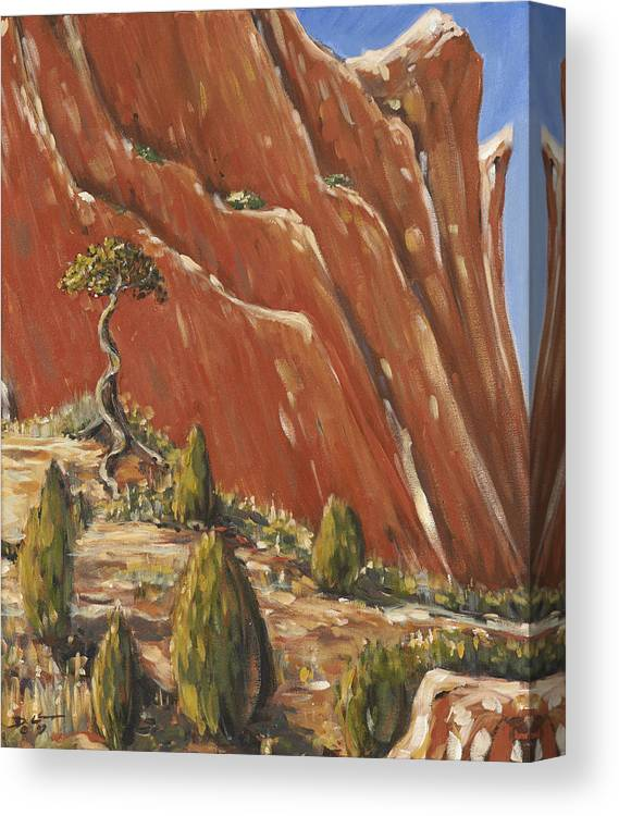 Colorado Canvas Print featuring the painting Tree Hill by David Llanos