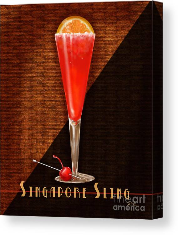 Vintage Cocktails-singapore Sling Canvas Print